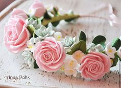 """Венок """" Mint and rose"""" - венок,полимерная глина,цветы из глины,венок на голову"""