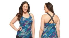 Ava & Viv Women's Plus Size Multi Criss Cross Tankini Swim Top 26W New NWOT  #AVAVIV #tankiniswimtop