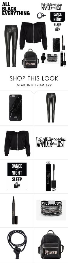 """All Black Everything"" by juvia-vaporeon065 ❤ liked on Polyvore featuring Native State, Christian Dior, Stila, White House Black Market, Charlotte Russe and CLUSE"