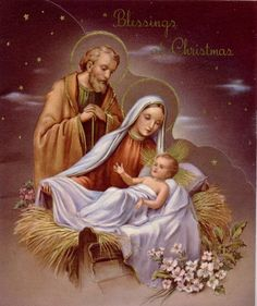 Christmas Blessings ~ The Holy Family Mary Christmas, Christmas Nativity Scene, Vintage Christmas Cards, Christmas Pictures, Christmas Art, Christmas Greetings, Nativity Scenes, Christmas Jesus, Christmas Blessings