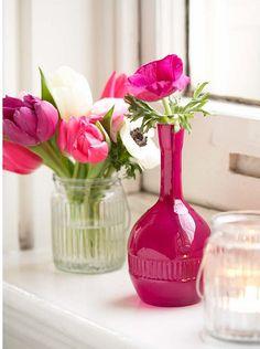 tulips anemone in simple vases