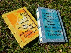 Caderno com encadernação copta e capa personalizada