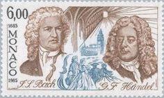 J S Bach and G F Handel on 1985 Monaco stamp (image)