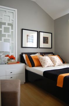 zannesy: Orange & Gray room  A bedroom painted with gray shades accentuated with orange & black ...