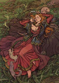Illustration for small art zine about gods. Norse Goddess, Goddess Art, Freya Norse Mythology, Art And Illustration, Fantasy Kunst, Fantasy Art, Art Zine, Arte Obscura, Witch Art