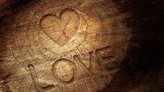текстура, трещины, сердце, дерево
