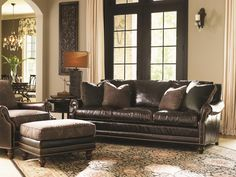 Landara Shoal Creek Sofa with Turned Legs and Nailhead Border by Tommy Bahama Home #leather #sofa #luxe