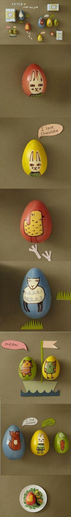"""鸡蛋君的逆袭 这些手绘巧克力彩蛋,并给彩蛋们编了故事增强趣味性,不幸的是,这让彩蛋们陷入了没人舍得吃的""""尴尬""""境地。"""