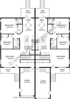 Duplex house plan php 2014006 is a four bedroom house plan for Side by side duplex plans