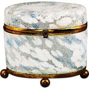 Antique blue white spatter coraline glass Casket or trinket hinged Box box