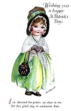 Saint Patricks Day Art, St Patricks Day Cards, Victorian Halloween, Christmas Wreaths, Christmas Ornaments, Luck Of The Irish, Vintage Greeting Cards, Vintage Images, Paper Dolls
