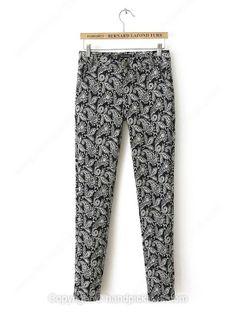 Black Button Fly Plants Print Pant -$22.59