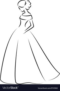 Sketch of an elegant bride in white wedding dress Vector Image , Girl Drawing Sketches, Dress Design Sketches, Girly Drawings, Cool Art Drawings, Fashion Design Drawings, Pencil Art Drawings, Easy Drawings, Fashion Illustration Sketches, Fashion Sketches