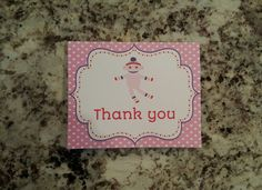 Printable Sock Monkey Thank you Cards- Pink by msmemories101 on Etsy