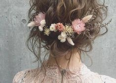 Oh so pretty. This gorgeous floral crown with dried flowers is just the loveliest isnt it? Image via . Wedding Day Weddings Planner Plan Planning Your Big Day Wedding Hair Flowers, Wedding Hair Pieces, Flowers In Hair, Dried Flowers, Wedding Dresses, Floral Hair, Floral Crown, All Hairstyles, Wedding Hairstyles