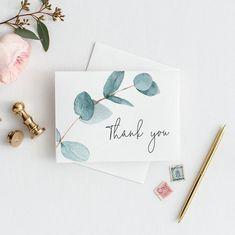 Thank You Card Eukalyptus Greenery danke Karte Hochzeit danke Karte Thank You Card Design, Thank You Card Template, Thank You Card Size, Thank You Letter, Thank You Notes, Wedding Thank You Cards, Card Wedding, Wedding Ideas, Wedding Pictures