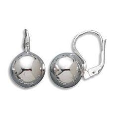 Women's 12mm Sterling Silver Ball Lever Backs Earrings, a BOLD Statement!