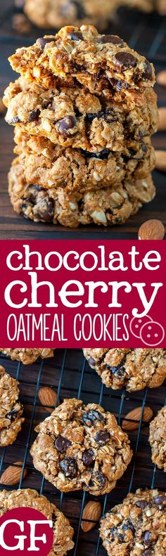 C is for COOKIES!!! These healthy Gluten-Free Chocolate Cherry Oatmeal Cookies are packed with simple ingredients for a delicious snack that'll help you power through your day!