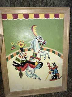 Vntg 1960s PBN Paint By Number CIRCUS Clown HORSE Monkey 18 X 14 framed #handmade