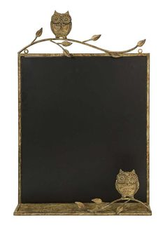 "In a warm honey toned metal frame, the Adeline owl chalkboard adds a bit of whimsy to kitchen areas and children's play areas. Product Description • Product Dimensions: 26.5"" H x 17.75"" W x 3"" D • Pro"