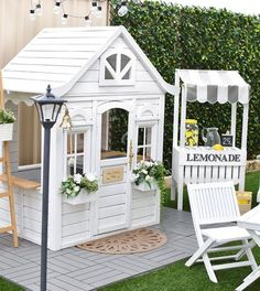 new house options New (never used), Kid Decor Design - Child Playhouse (fully designed and decorated) This full size WOODEN play house is the perfect childrens playhouse for your gir Backyard Playhouse, Build A Playhouse, Wooden Playhouse, Playhouse Ideas, Childrens Playhouse, Playhouse Decor, Playhouse For Kids, Playhouse Windows, Outside Playhouse