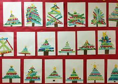 Besutiful Xmas trees made with strips of paper Grade ONEderful: Christmas Art Tour