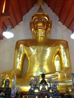 Phra Chao Ton Luang, a 16 metres (52 ft) high, 14 metres (46 ft) wide Buddha statue (Phra Chao Ton Luang) in the angular local style of the 15th and 16th centuries.  Phayao Province, Thailand.