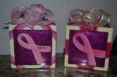 Breast Cancer Awareness lighted glass blocks handpainted...