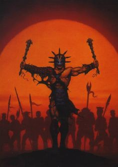 Brom pretty much defined the art of Dark Sun. Gladiator with twin maces and arms outstretched.