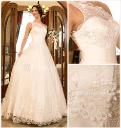 A-line Princess One Shoulder Sweep/Brush Train Tulle And Lace Wedding Dress (632801) - USD $ 176.99