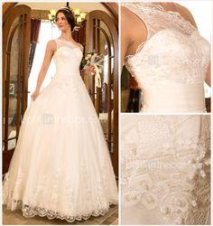uma linha princesa varrer um ombro / escova de trem de tule e rendas do vestido de casamento (632801) - BRL R$ 426,12