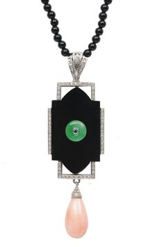 Art Deco onyx, coral, jade and diamond pendant on onyx bead necklace. 1925 via Jewelry Nerd