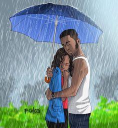 UnderMyUmbrella Black Couple Art, Black Love Art, Black Girl Art, Black Cartoon, Cartoon Art, African American Art, African Art, Poka Arts, Black Art Pictures