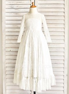 [US$ 69.99] A-Line/Princess Floor-length Flower Girl Dress - Satin/Lace Long Sleeves Scoop Neck With Sash (010091411)