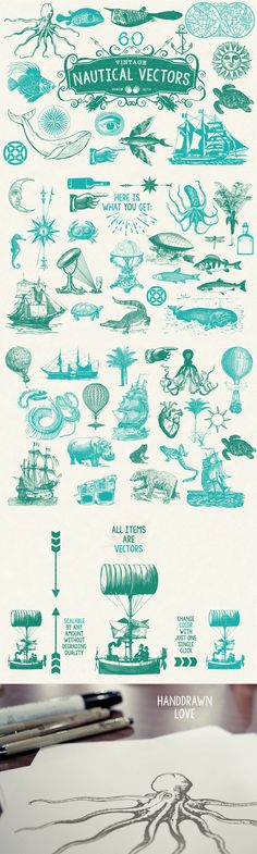 60 Vintage Nautical Vectors by MouseMade | The Comprehensive, Creative Vectors Bundle Mar 2015 from Design Cuts