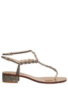 Valentino - 30mm Suede Crystal Sandals by Valentino