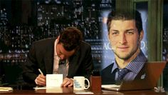 """""""Thank you, Tim Tebow, for volunteering to spend your Sundays helping the needy and less fortunate."""""""