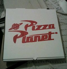 Bought empty pizza boxes, printed a template of the logo & used sharpies to color in logo for toy story party.