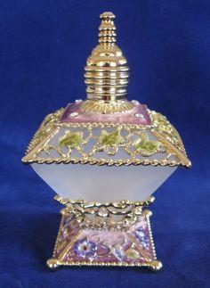Perfume Bottle Flowers Square Frosted Glass Enamel Czech Crystals Purple NEW | eBay