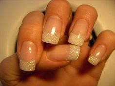French manicure with white glitter