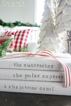 embroider fabric for covers.... christmas house tour: northwest coastal edition