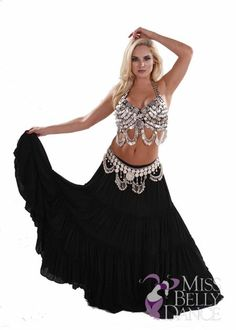 Shimmer Spin Bellydance Costume MissBellyDance.com  -  I only wish this came in more colors and that the top was a criss-cross ring halter style.