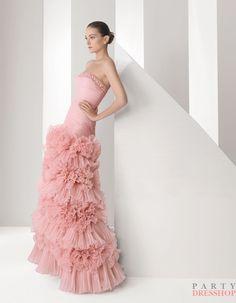 www.partydresshop.com wedding dress,party dress,on sale now ,newest style,$229A Line Dark Pink  Rosa Clara Cocktail Dresses MRSD037