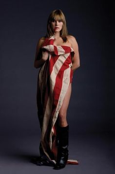 We're feeling all patriotic today thanks to these jaw dropping Grace Potter photos: Read on for one more. American Pride, American Girl, American Flag, Flag Photoshoot, Grace Potter, Women Of Rock, Guitar Girl, Boudoir Photos, Boudoir Photography