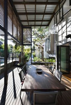 wood, metal, glass porch