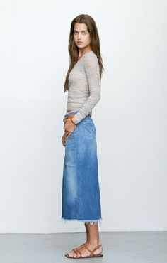 20 Modern Ways to Style a Denim Skirt for Spring | Double denim ...