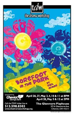 TDW show poster for BAREFOOT IN THE PARK, 4/13 - Artist: Brandon Flaig Barefoot In The Park, Play Houses, Workshop, Drama, Concept, Artist, Movie Posters, Atelier, Work Shop Garage