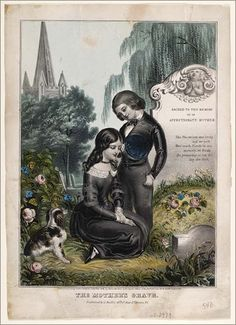 """Colored memorial print of two children and a dog beside a gravestone which is inscribed """"Sacred to the memory of an affectionate mother"""" and followed by a verse. A weeping willow tree is behind the gravestone and a spire of a church is in the distant background."""