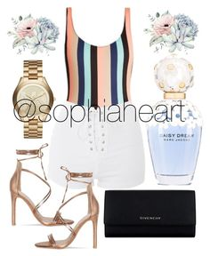 """""""Untitled #76"""" by sophiaheart ❤ liked on Polyvore featuring Solid & Striped, Topshop, Givenchy, Michael Kors and Marc Jacobs"""