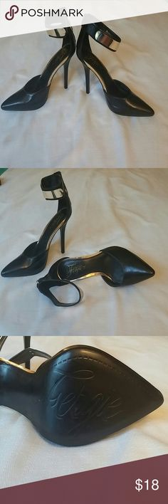 Forgive Gold Ankle Strap Heels Size 10M.   Worn once, good condition.  Minor marking from closet (shown in last photo)  Zips in the back for closure. Fergie Shoes